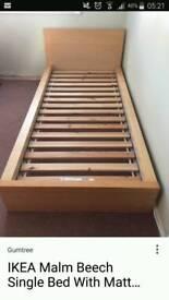 IKEA Malm oak Beech single bed frame