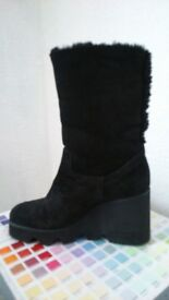 Womens Boots. Black suede, fur lined. Light weight wedge. New. £30