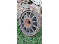 Antique French Michelin Bibendum Old Wooden & Metal Wheel 1920's Era RARE (B)