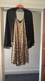 Dress gold and black size 14 boohoo