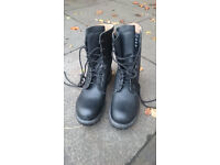 Mens Black Leather Army Biker Boots Size 10 New
