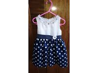 Designer Blue and White Girls Dress by American Princess Age 3 - Excellent Condition