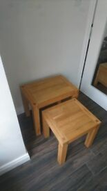 Solid Oak Nest of Tables Side Table