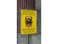 bank/building society original vintage double sided sign with bracket