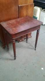 Vintage table on casters with storage