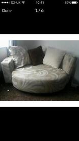 Cream and white large cuddle chair