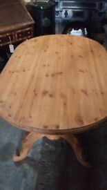 Antique solid pine pedestal farmhouse table