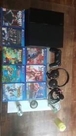 PS4 500GB , 8 GAMES , OFFICIAL CONTROLLER & HEADPHONES.