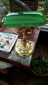Bankers lamp green glass shade vgc