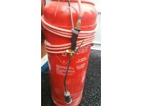 Gas propane bottle 47kg ( nearly full ) with torch burner 5 metres hose regulator blow roofers kit
