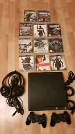 PlayStation 3 Slim 120GB + 11 games + 2 controllers + Turtle Beach headset!