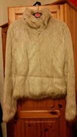 Fur cream jacket Size 6 Ex. Condition