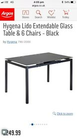 Glass dining table( black extendable)