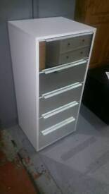 A brand new white finish slim 5 drawer mirrored drawer fronts chest.