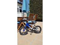 "AMMACO ROCKY 14"" WHEEL BOYS BMX BIKE BLUE AND WHITE WITH STABILISERS AGE 4+"