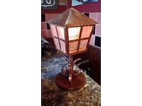 RARE ANTIQUE ARTS & CRAFTS ,VICTORIAN,LARGE COPPER LATTERN LAMP ON OAK B ASE £19.99 FULLY WORKING