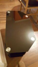 Black glass and chrome tv unit table 3 shelves