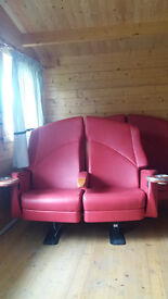 Cinema Chairs - Red Leather. Real Thing.
