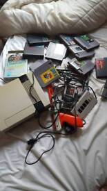 Original NES console, controllers+advanced controller &games