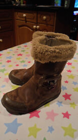 Clarkes Girls Real Leather, Brown Fairy Boots, 'Breena Dusk', Size 9F, 27M, Excellent Condition!