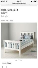 White company single bed and Trunkle bed