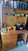 Solid Pine Computer Desk w Hutch w 3 drawers
