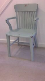 Shabby Chic Carver Chair in Duck Egg Blue Chunky Solid Wood Vintage Upcycled