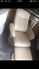 Cream leather chair and stool