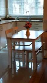 Argos table chairs and bench