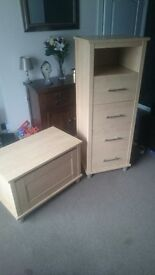 Kids ottoman/toy-box and tall-boy chest of drawers