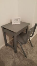 Grey hand painted Desk and Chair