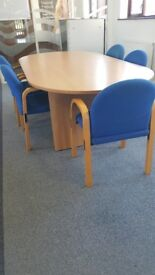 LARGE MEETING TABLE WITH 5 CHAIRS
