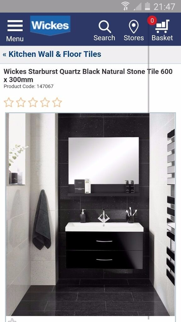 starburst quartz black tile - Bathroom Tiles Redditch