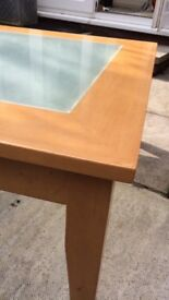 Lightwood square coffee table with glass insert