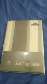 """*Brand New* Brown, Cream and Grey striped curtains 46"""" Width - 72"""" Length"""