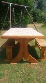 Solid wood table with ceramic tile top and 2 benches set