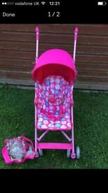 Mothercare floral butterfly pushchair stroller