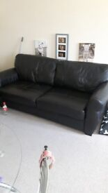 Chocolate brown 2 seater leather sofa