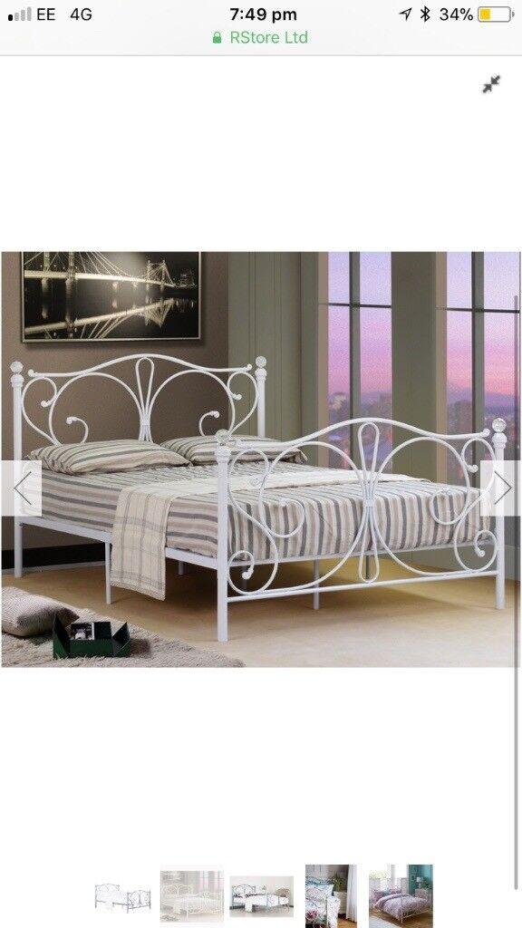 low priced e2514 339b2 White metal double bed frame Christina from the range   in Stowmarket,  Suffolk   Gumtree