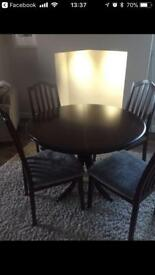 URGENT: G Plan extendable dining table and chairs dark brown