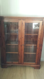 Ducal solid pine display cabinet / bookcase with light - mahogany colour