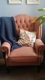 Pink leather Chesterfield sofa, 2x Queen Anne wingback chairs & pouffe - needs TLC