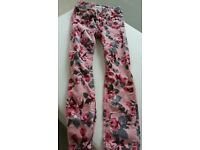 girls pink floral jeans/cords