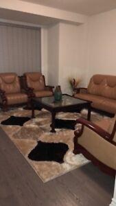 Living room 4 piece sofa set, Rug and decor also