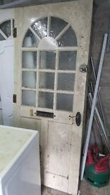 2 x solid wood external doors with glass panes