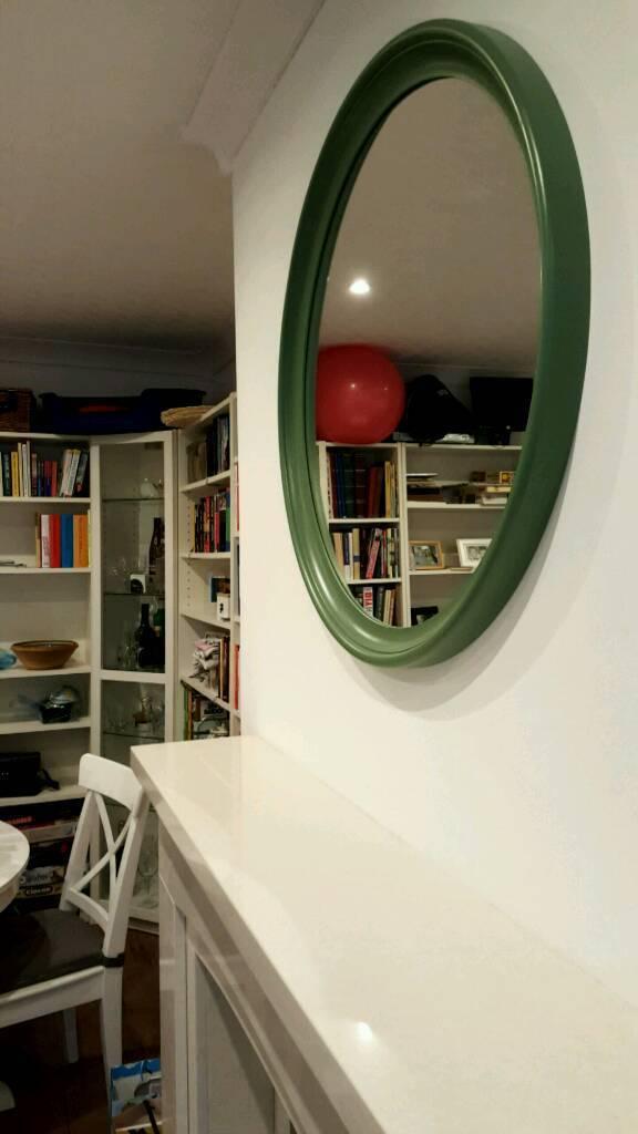 Round Mirror Ikea Green Wood