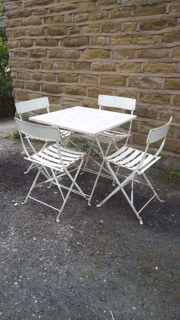 Genuine Old Vintage Antique Retro French Folding Metal Garden Furniture Set Table Chairs White