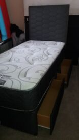 As new complete divan single bed