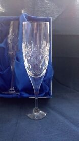 Two beautiful Royal Doulton Crystal Champagne Flutes