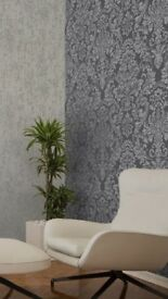 Wallpaper. French Silver/Grey Damask x 4 New